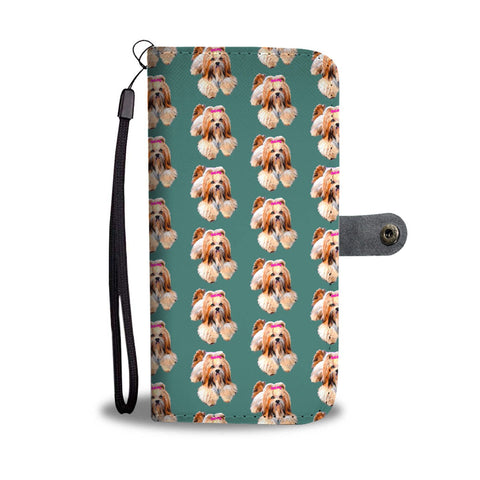 Cute Lhasa Apso Dog Pattern Print Wallet Case-Free Shipping