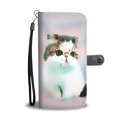 White Exotic Shorthair Cat With Love Rose Print Wallet Case-Free Shipping