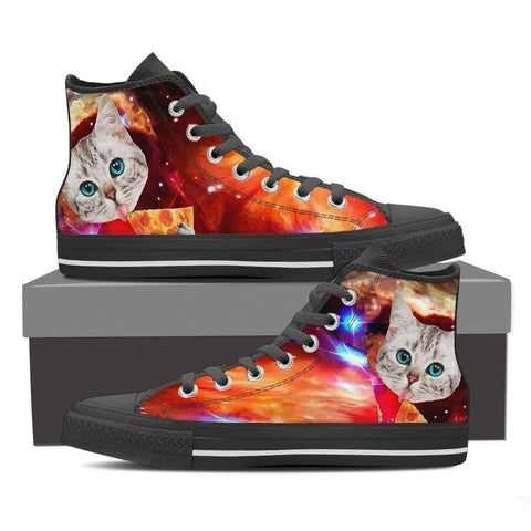 Cat Printed-Women's High Top Canvas Shoe-Free Shipping-Paww-Printz-Merchandise