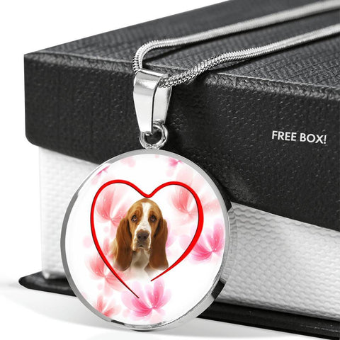 Basset Hound Print Luxury Circle Necklace-Free Shipping