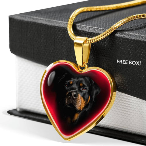 Rottweiler Dog Print Heart Charm Necklaces-Free Shipping