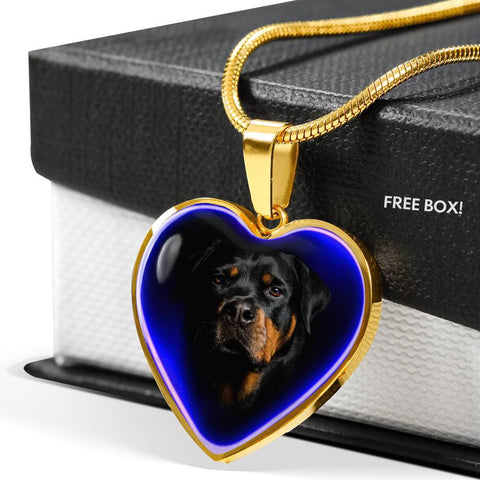 Amazing Rottweiler Dog Print Heart Charm Necklaces-Free Shipping