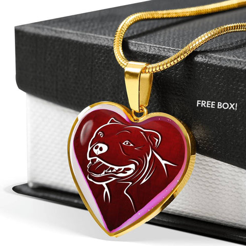 Pit Bull Terrier Dog Print Heart Charm Necklaces-Free Shipping