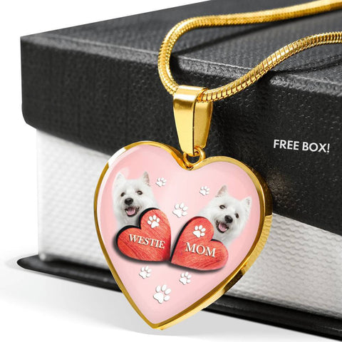 West Highland White Terrier (Westie) Print Heart Charm Luxury Necklace-Free Shipping