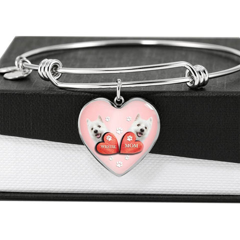 West Highland White Terrier (Westie) Print Heart Charm Bangle-Free Shipping