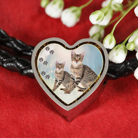 Savannah Cat Print Heart Charm Leather Woven Bracelet-Free Shipping