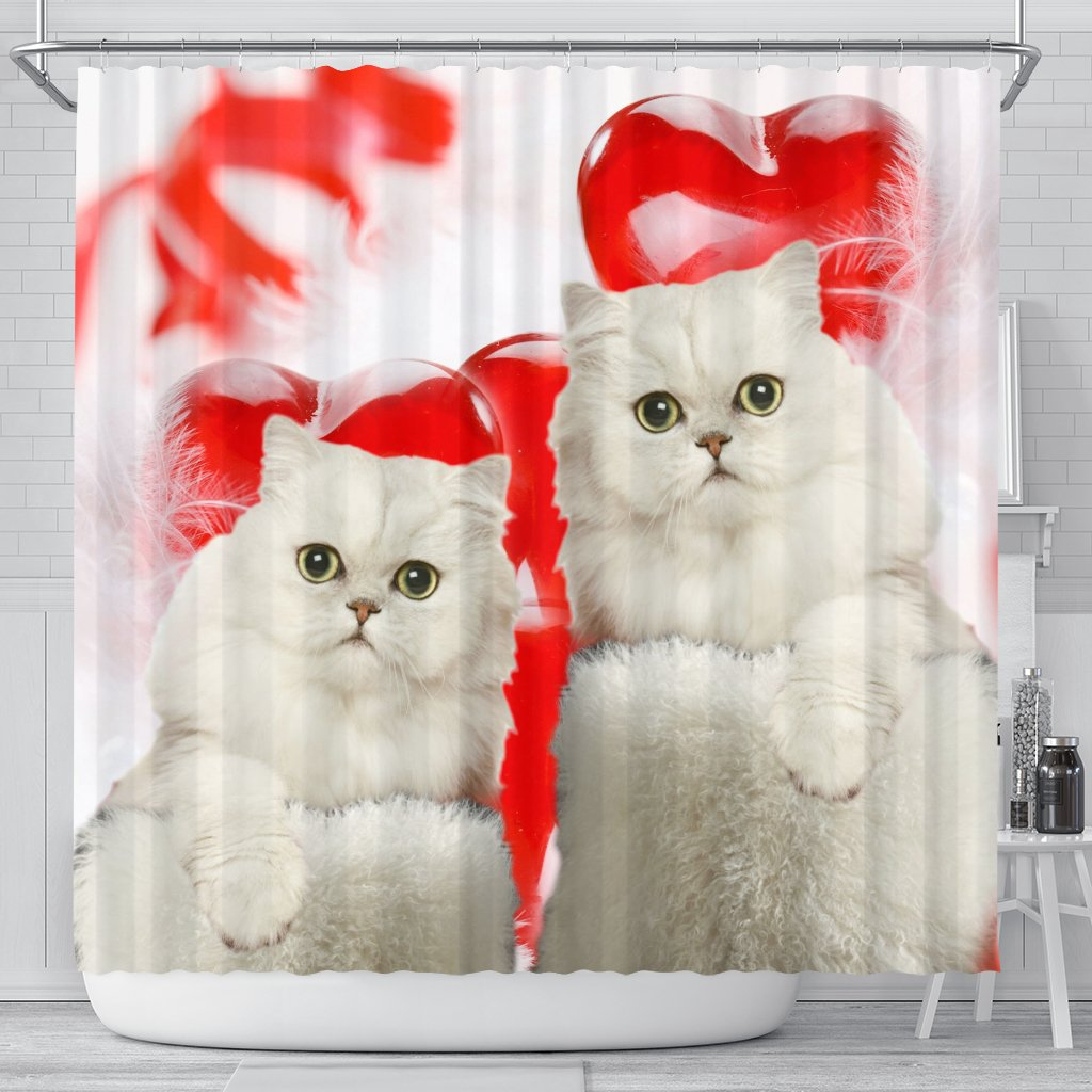 Persian Cat On Red Print Shower Curtains Free Shipping