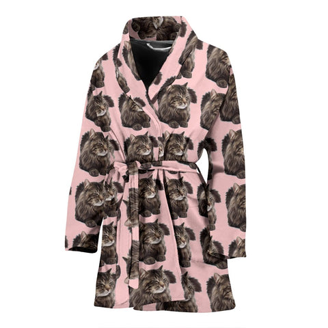 Maine Coon Cat Pattern Print Women's Bath Robe-Free Shipping