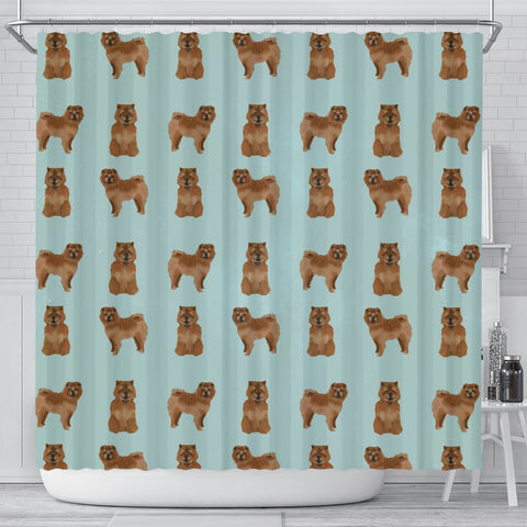 Cute Chow Chow Dog Pattern Print Shower Curtains-Free Shipping