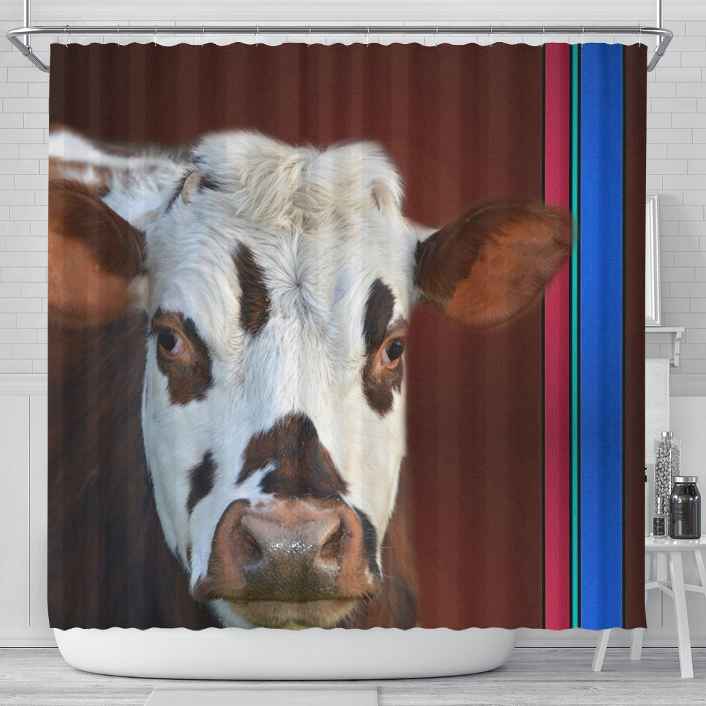 Cute Normande Cattle Cow Print Shower Curtain Free Shipping