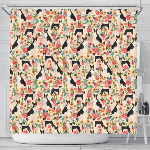 Cute Basenji Dog Floral Print Shower Curtains-Free Shipping