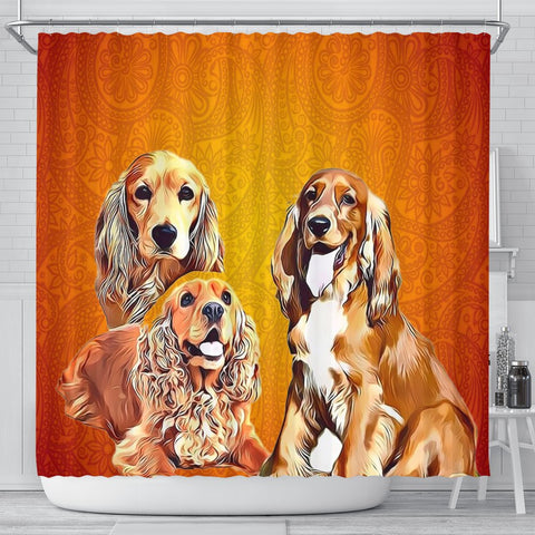 English Cocker Spaniel Print Shower Curtain-Free Shipping