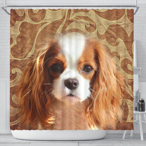Cavalier King Charles Spaniel Print Shower Curtains-Free Shipping