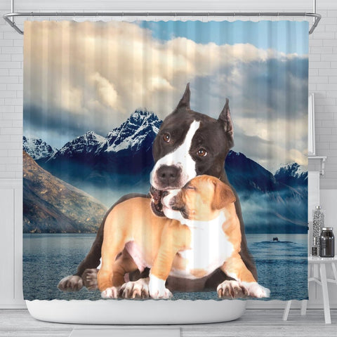 Pit Bull Terrier Print Shower Curtains-Free Shipping