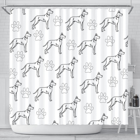 Great Dane With Paws Patterns Print Shower Curtain-Free Shipping