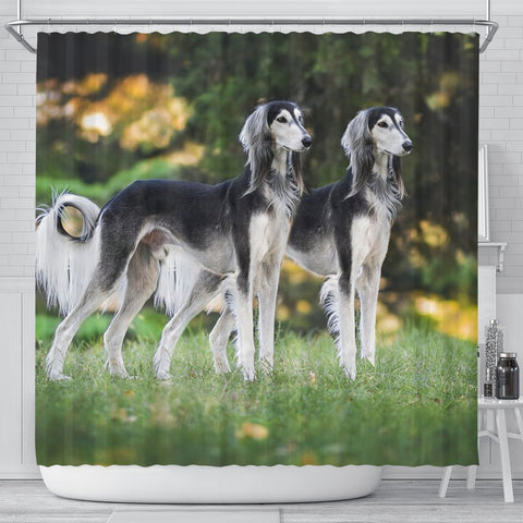 Amazing Saluki Dog Print Shower Curtains-Free Shipping