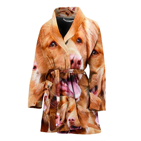 Nova Scotia Duck Tolling Retriever Dog In Lots Print Women's Bath Robe-Free Shipping