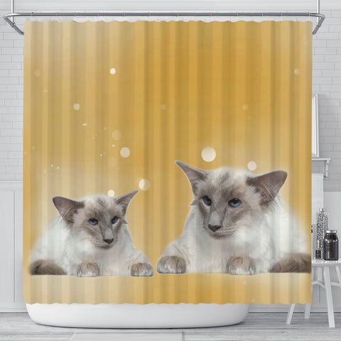 Balinese Cat Print Shower Curtain-Free Shipping