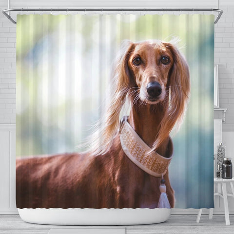 Awesome Saluki Dog Print Shower Curtains-Free Shipping