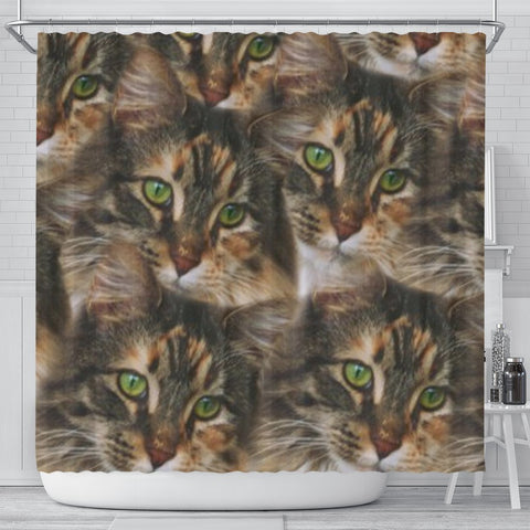 Maine Coon Cat Print Shower Curtain-Free Shipping