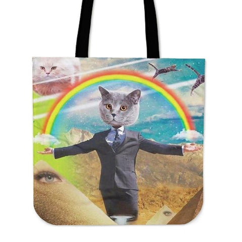 Rainbow With Cat Tote Bag-3D Print-Free Shipping-Paww-Printz-Merchandise