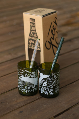 Pack de 2 vasos GREEN GLASS + 2 Kit de Bombillas GLASHALM