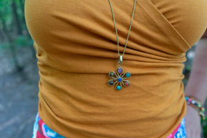 The chakra flower - Gold Brass Necklace jewelry Tantilly
