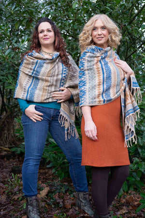 Etnic warm winter scarf - Blue Taupe Stripes Scarves Tantilly