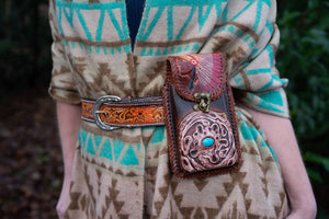 Unique Leather Hip-Handbag, Indian Vibes bag Tantilly