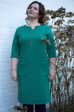 Julia jurk - fiji green Three quarter sleeves Tantilly