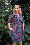 Reversible wrap dress - classic green flowers and watermelon turquoise Reversible dress Tantilly