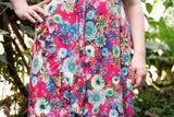 Flamenco wrap dress short sleeves - tropical pink