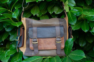 Unique Leather Handbag, colorful patch - side bag brown classic bag Tantilly