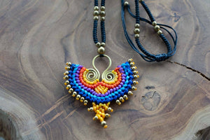Handmade Owl Macrame Necklace - Blue Orange Yellow Colors jewelry Tantilly