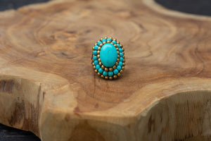 Handmade Macrame Ring Beads - Turqoise jewelry Tantilly