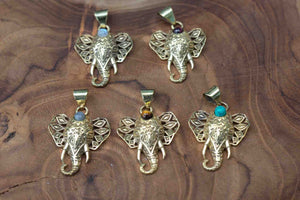 Lucky elephant - Gold brass necklace - choose your colour jewelry Tantilly