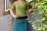 Reversible Cotton Skirt - tantilly flowers and retro red sun