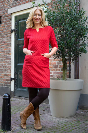 Julia Dress - Macaw Red three quarter sleeves Tantilly