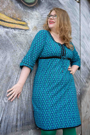 Betty Cotton Dress - Indigo Feathers Sky spring cotton dresses Tantilly