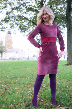 Bibi winter dress - velours vintage pink winter dresses Tantilly