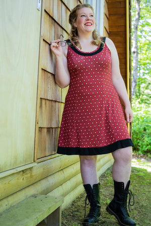 Monica dress - coral summer dotties - reversible model high summer clothes tantilly