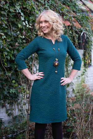 Devi dress - dark green flower Three quarter sleeves Tantilly