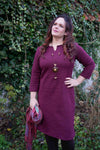Devi dress - beautiful burgundy Three quarter sleeves Tantilly