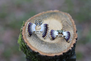 Handmade classic grey owl - Macrame earrings jewelry Tantilly