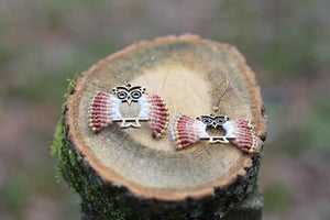 Handmade brown owl - Macrame earrings jewelry Tantilly