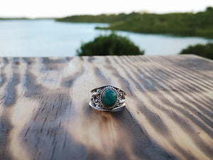 Silver ring- classic turquoise jewelry Tantilly