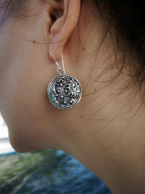 Sun & moon universe - Silver earrings jewelry Tantilly