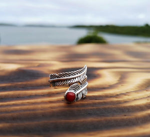 Silver ring- Red Feather Circle jewelry Tantilly