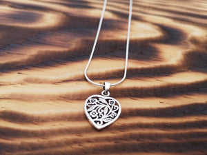 The flower heart - Silver pendant / Necklace jewelry Tantilly