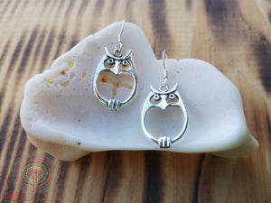 Wisdom Owl - sterling silver earrings jewelry Tantilly